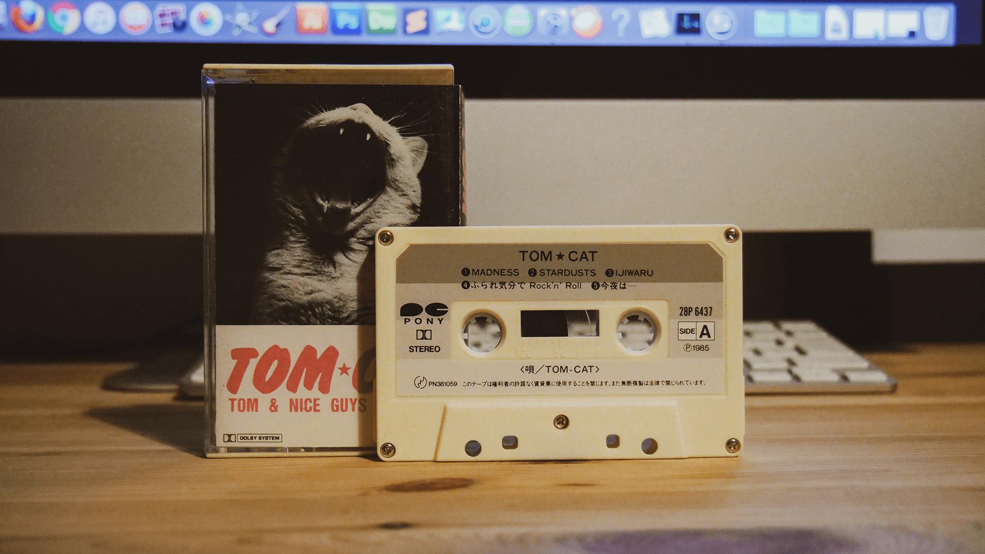 中古ならではの風合いに思いを馳せる。TOM CATのカセットテープ