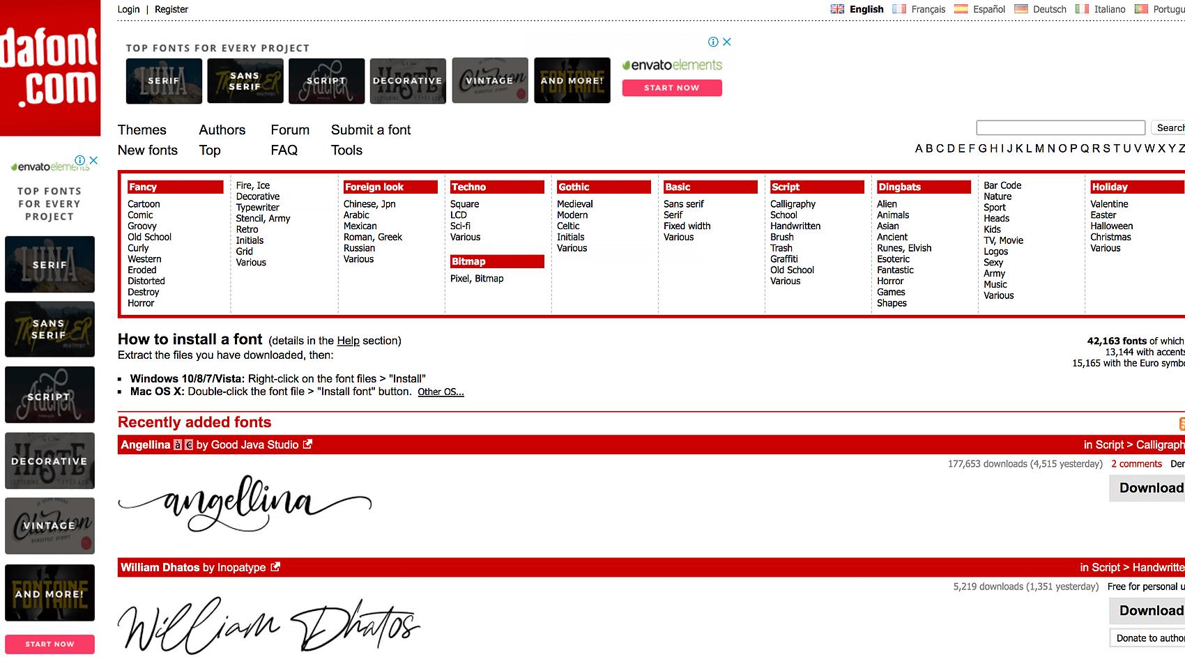 DaFontのTOPページ画像