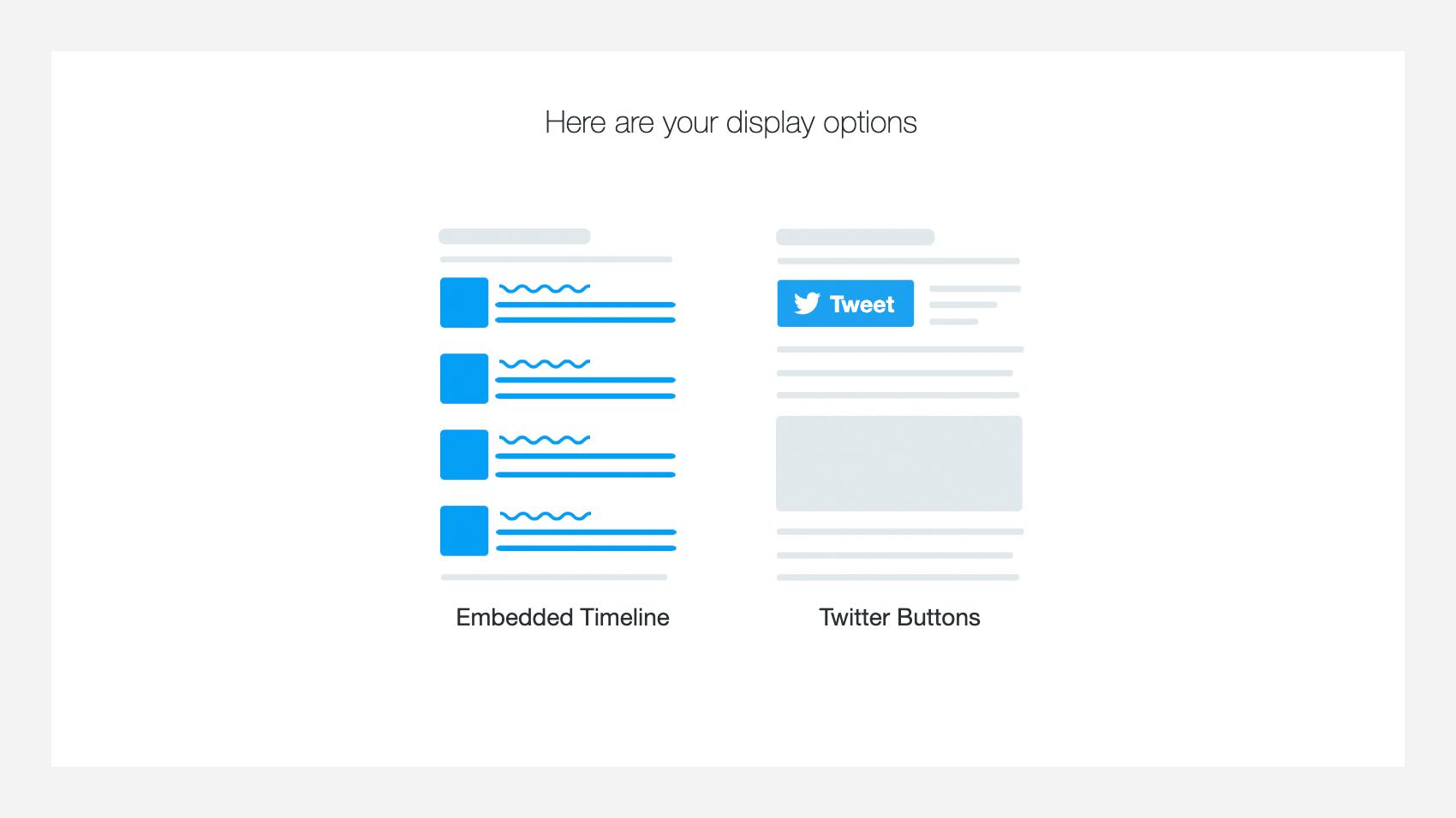 Twitter Publishの表示するパターンを選ぶ画面