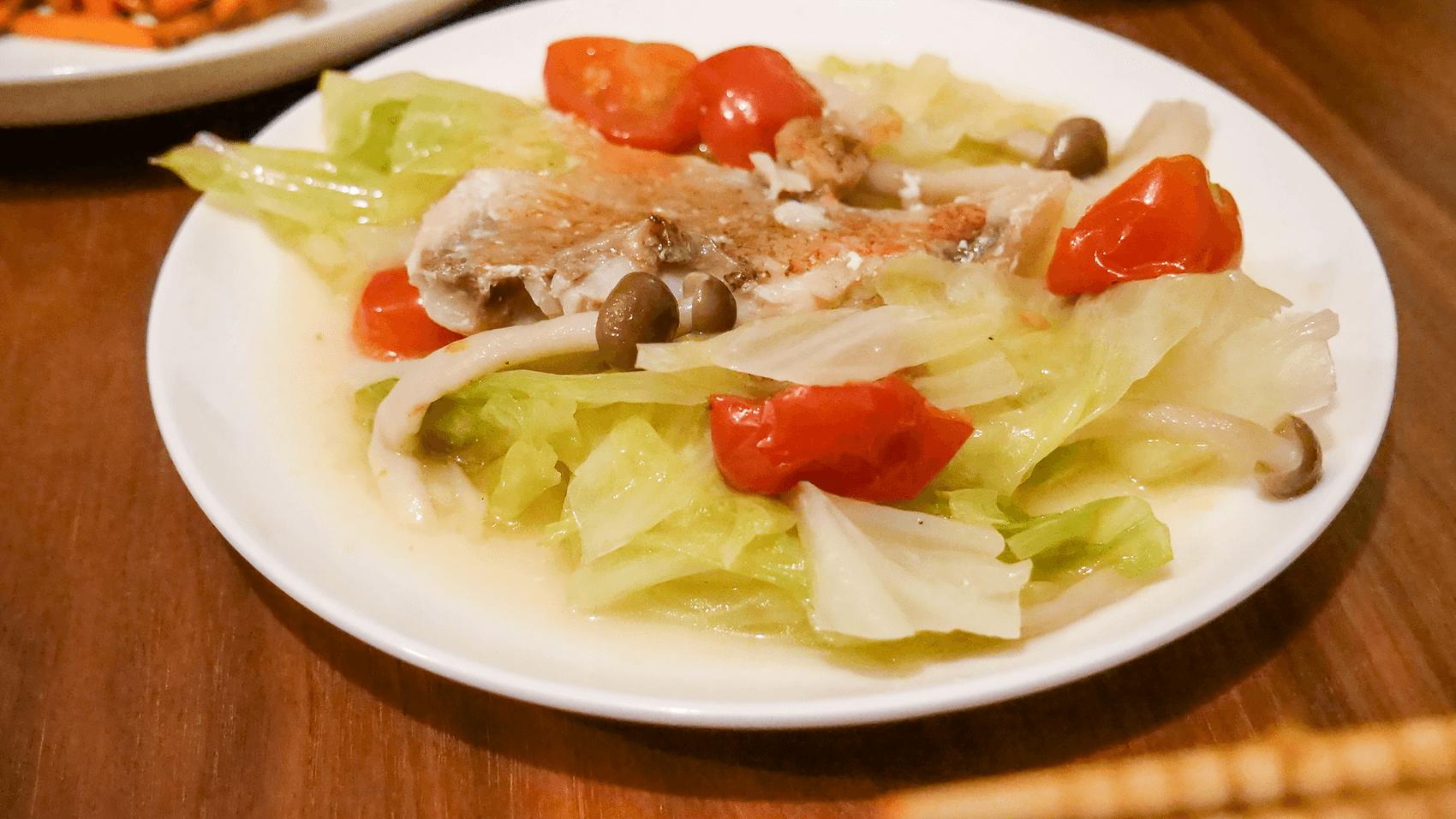キャベツと赤魚のアクアパッツァ