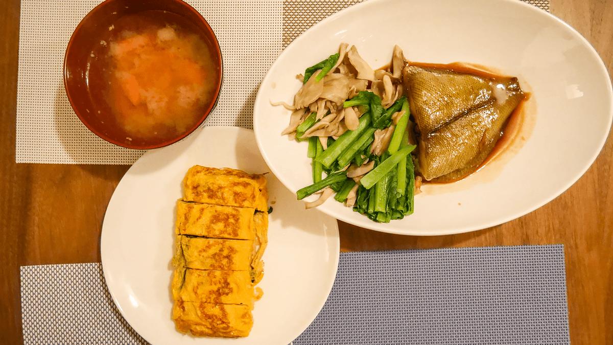 蒸し野菜とカレイの煮つけ