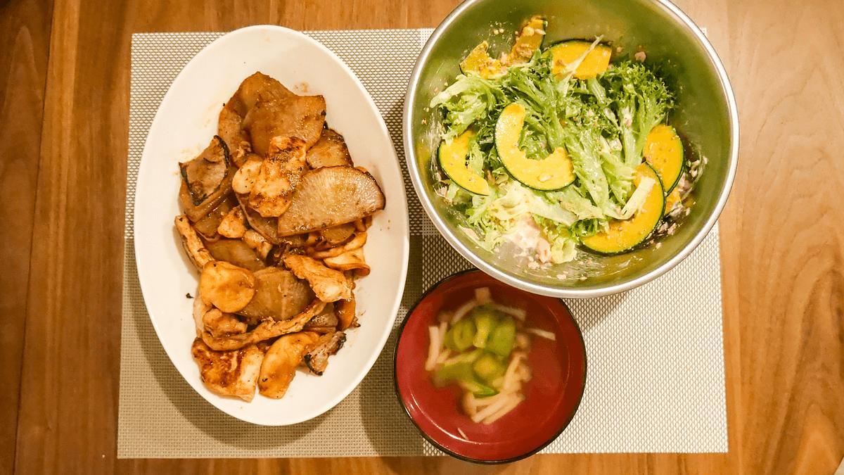 2日目の献立 焼き大根と鶏肉のカレー炒め