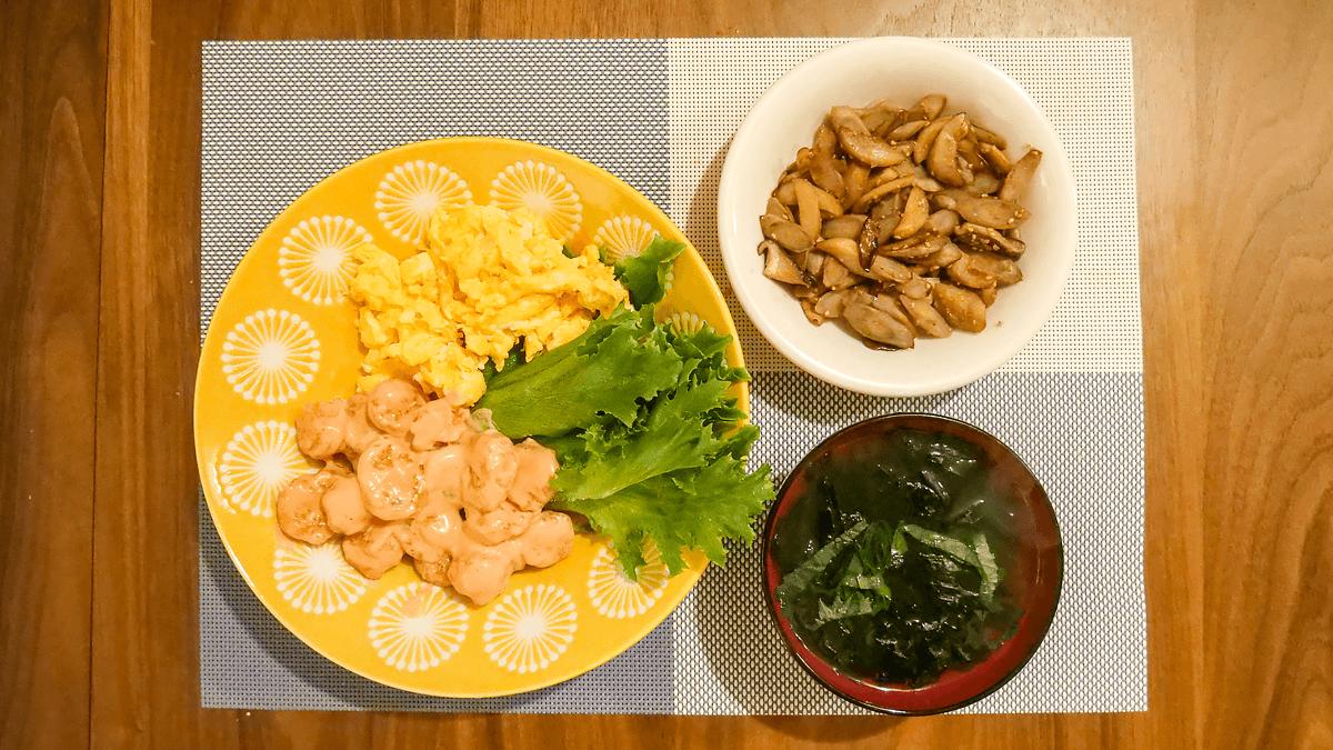 ちゃんとoisix 19周目の4日目の夕食 半熟たまごとコク旨えびマヨ