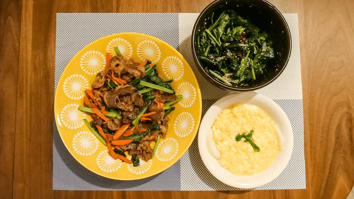 ちゃんとoisix 19周目の2日目の夕食 彩り野菜の甘辛牛カルビ炒め