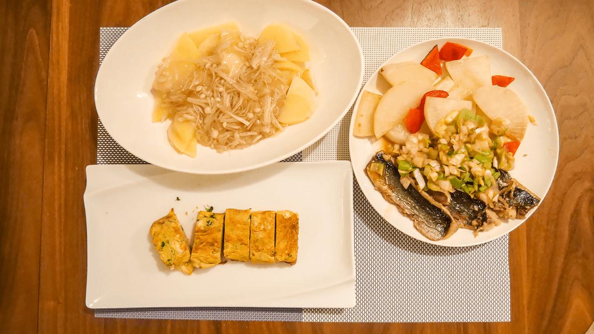 ちゃんとoisix 20周目の2日目の夕食 ニシンの自家製ねぎ味噌だれ