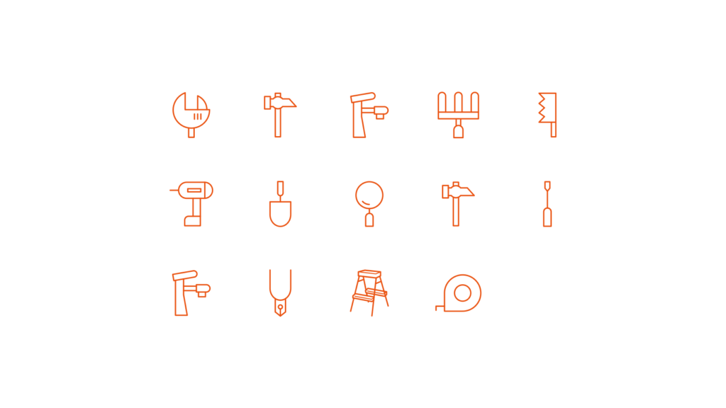 わかりやすくシンプルに統一感を意識した工具のアイコンデザイン