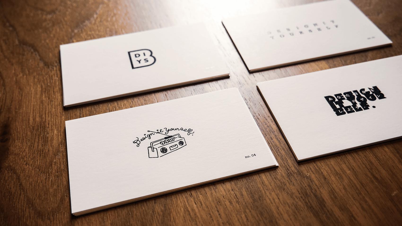 4種類の裏面の名刺デザイン