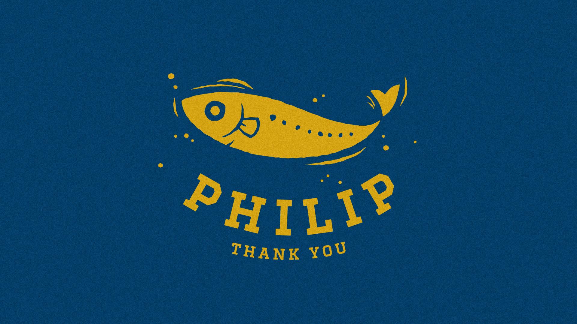 友ヶ島で出会ったしらすの相棒「フィリップ」のロゴデザイン