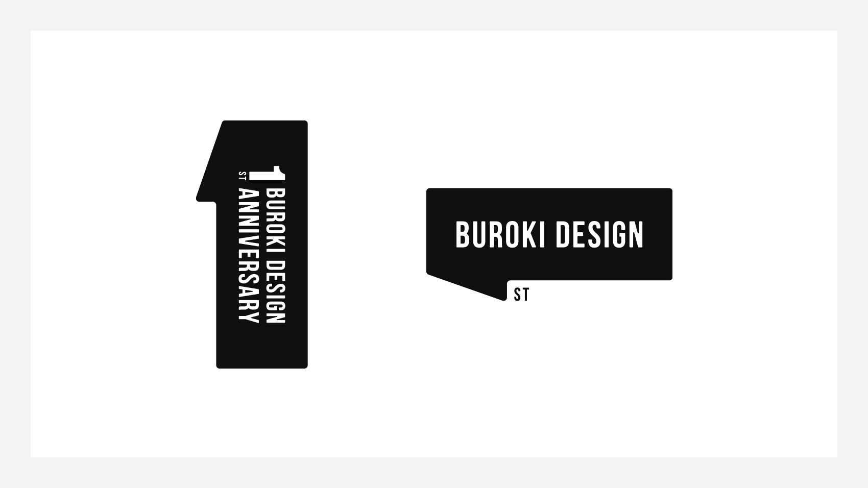BUROKI design 1周年ロゴ